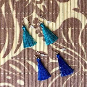 Jewelry - Just in! 2 Tassel Earrings in Teal and Blue